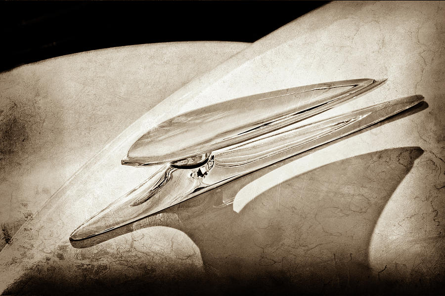Transportation Photograph - 1938 Ford Woody Hood Ornament -0243s by Jill Reger