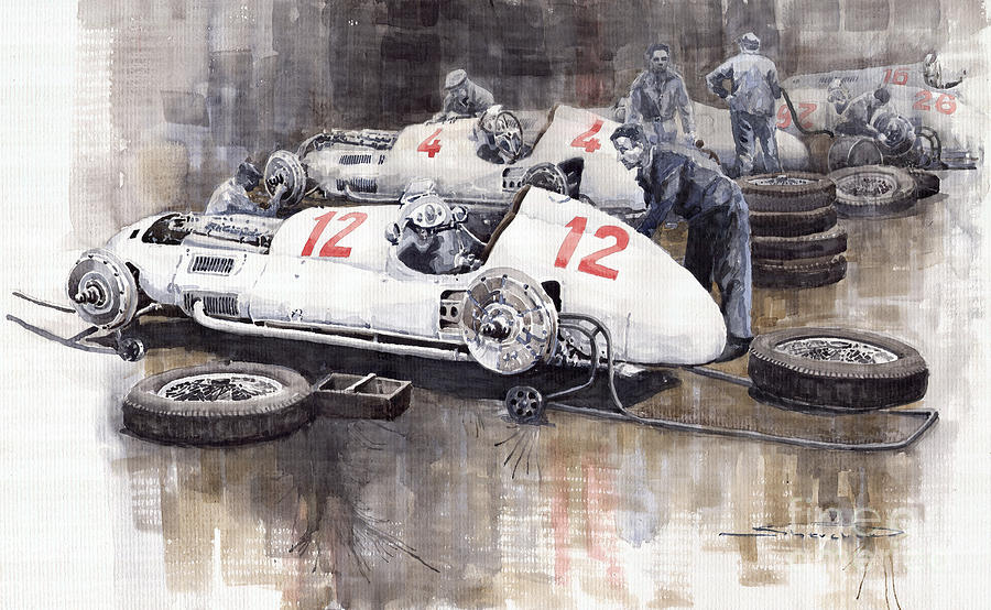 Watercolour Painting - 1938 Italian Gp Mercedes Benz Team Preparation In The Paddock by Yuriy  Shevchuk