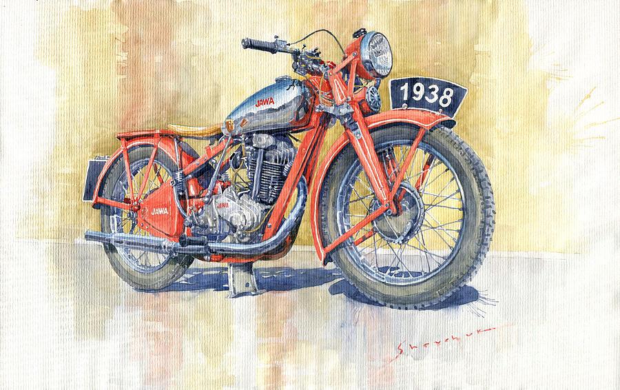 Watercolor Painting - 1938 Jawa 350 Ohv by Yuriy Shevchuk