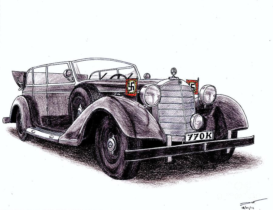 1938 Mercedes-benz 770k Drawing By Dan Poll