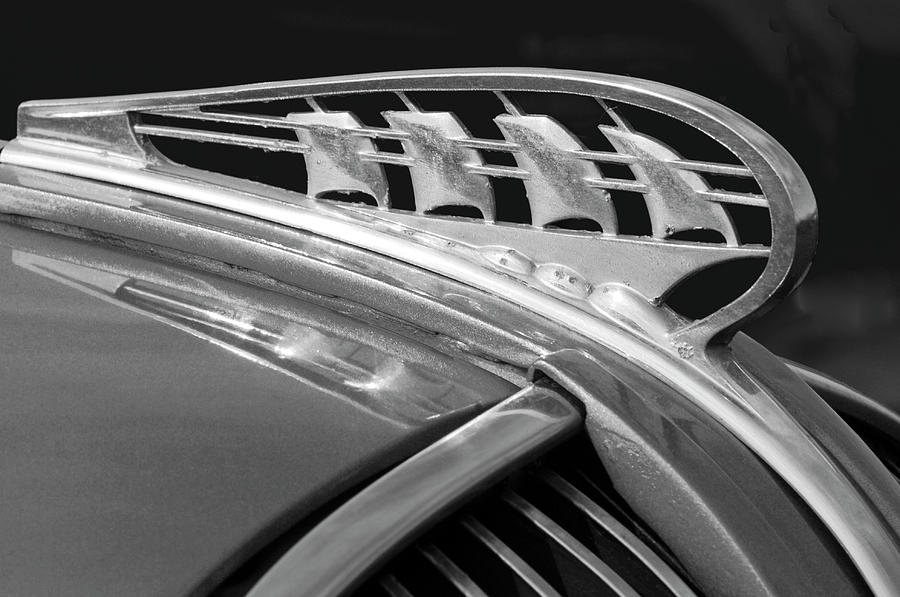 Black And White Photograph - 1938 Plymouth Hood Ornament 2 by Jill Reger