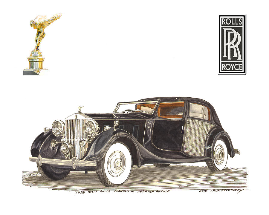 1938 Rolls Royce Phantom I I I Sedanca Deville Painting by Jack Pumphrey