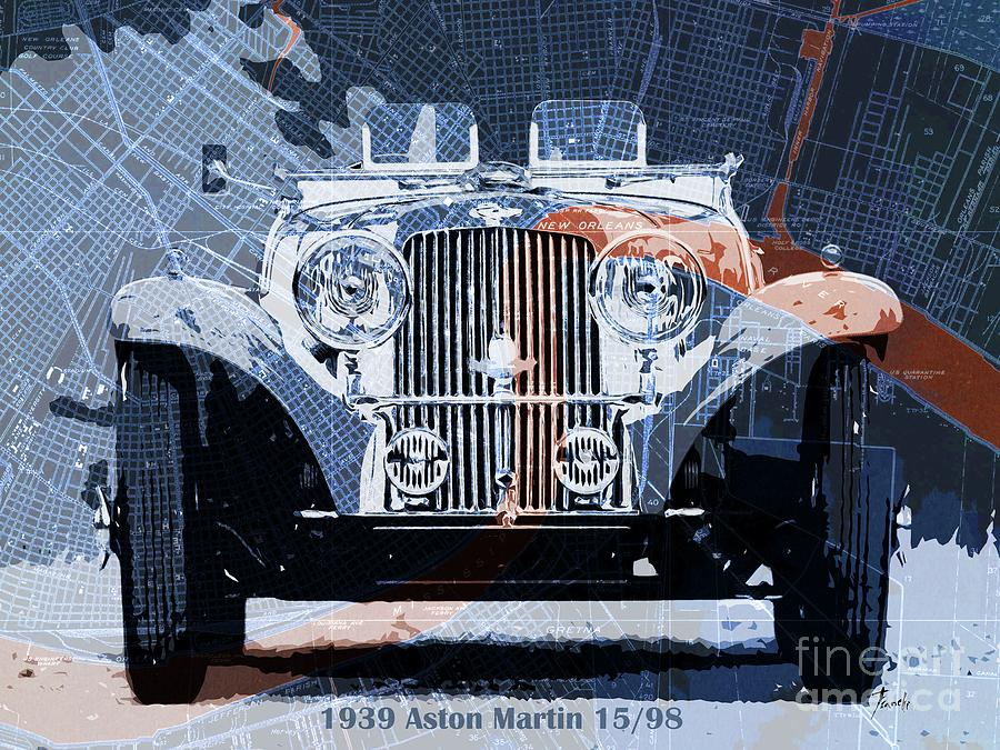 1939 Aston Martin 15-98 Over New Orleans Vintage Blue And Orange Map Drawing