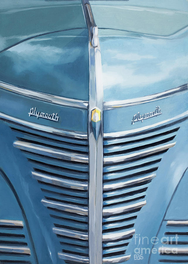 Plymouth Painting - 1939 Blue Plymouth Grill by Elaine Brady Smith