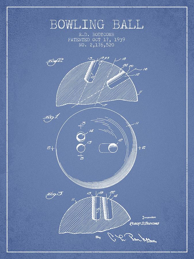 Bowling Digital Art - 1939 Bowling Ball Patent - Light Blue by Aged Pixel