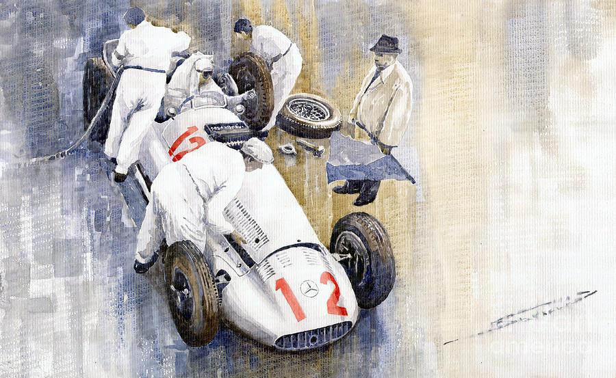 Watercolour Painting - 1939 German Gp Mb W154 Rudolf Caracciola Winner by Yuriy  Shevchuk