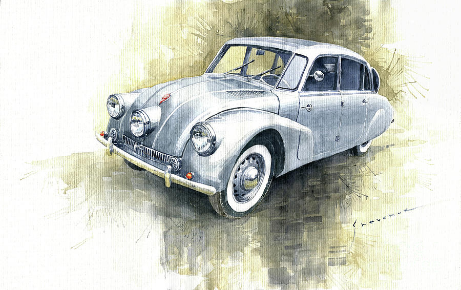 Watercolor Painting - 1939 Tatra T87  by Yuriy Shevchuk