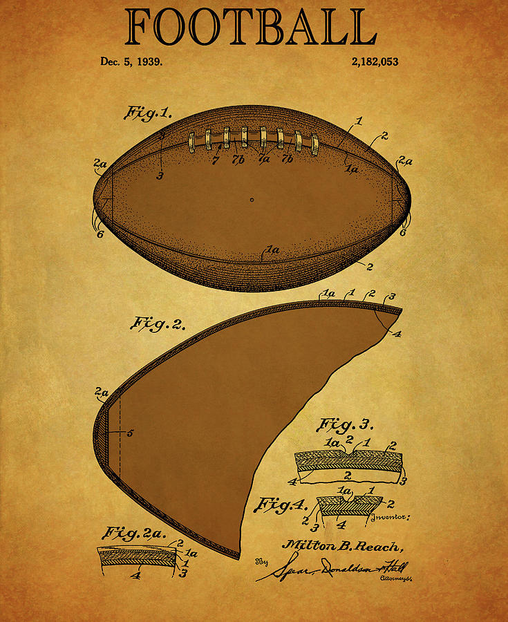 1939 Vintage Football Patent by Dan Sproul