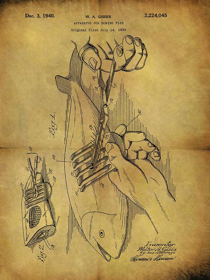 1940 Boning Fish Patent Drawing