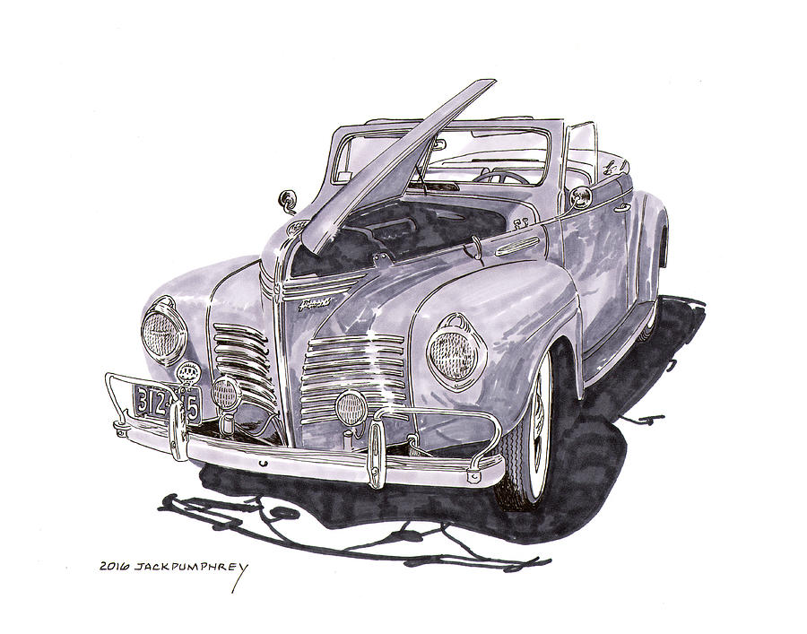 Plymouth Convertibles Painting - 1940 Plymouth P 1 Convertible by Jack Pumphrey