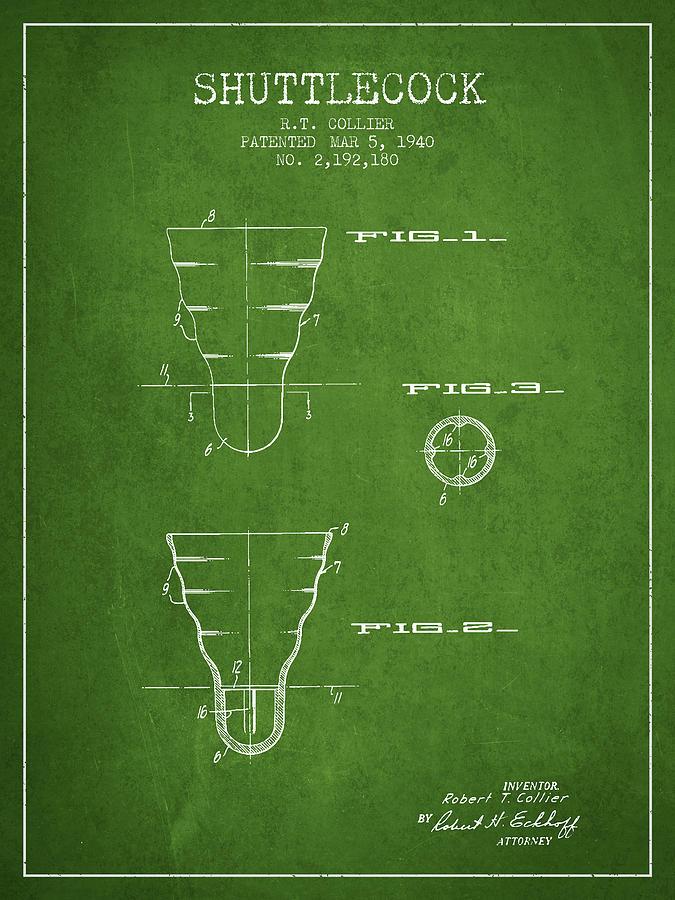 Badminton Digital Art - 1940 Shuttelcock Patent Spbm02_pg 1940 by Aged Pixel