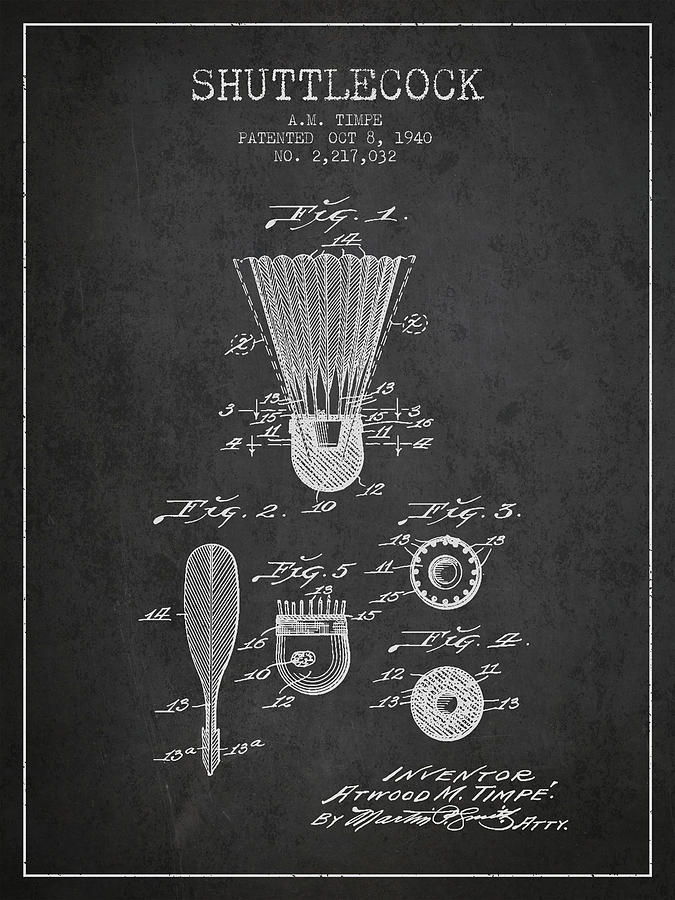 Badminton Digital Art - 1940 Shuttelcock Patent Spbm03_cg by Aged Pixel