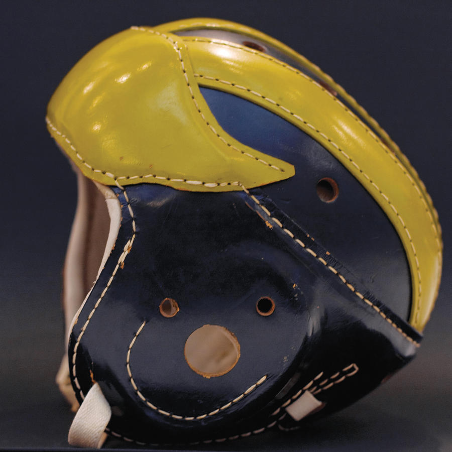 1940s leather Wolverine helmet by Michigan Helmet