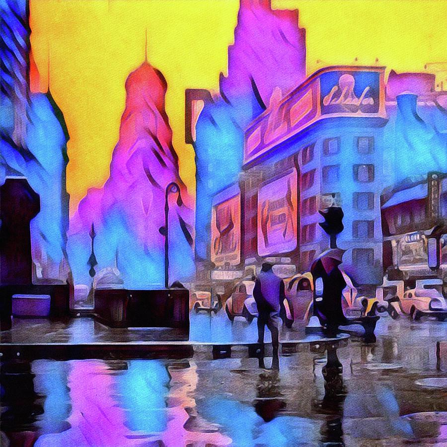 New York City Landscape Photograph - 1940s Times Square Rain by Susan Maxwell Schmidt