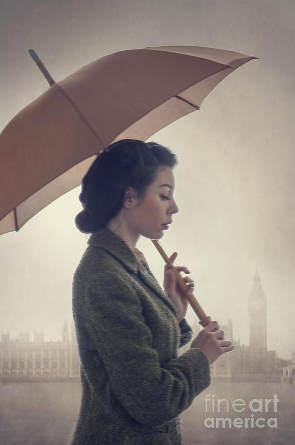 1940s Woman With Umbrella In London Rain Photograph By Lee Avison