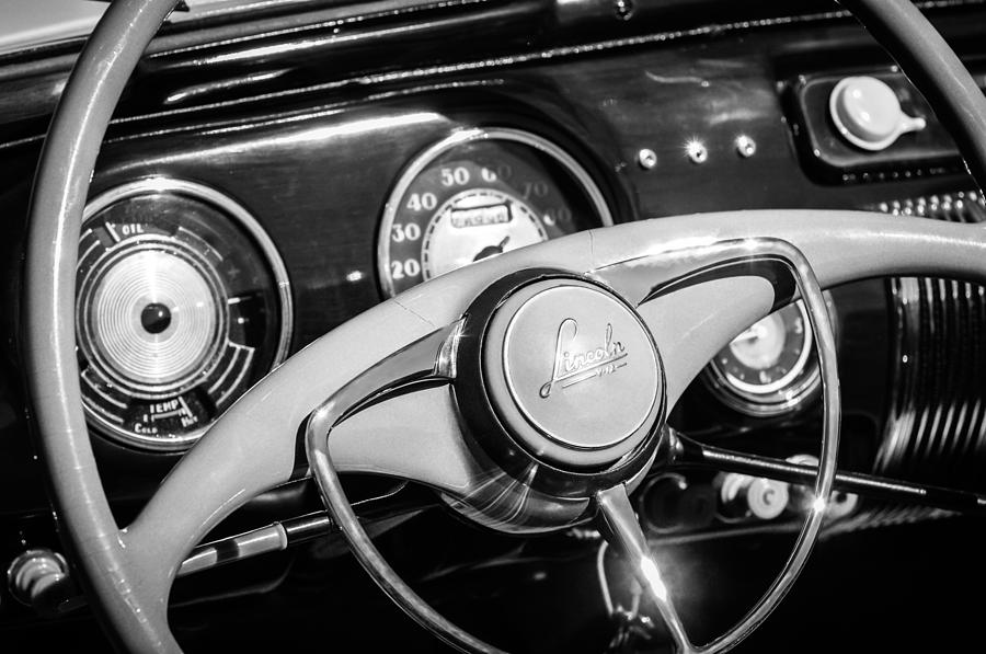 1941 Lincoln Continental Cabriolet V12 Steering Wheel -226bw by Jill Reger