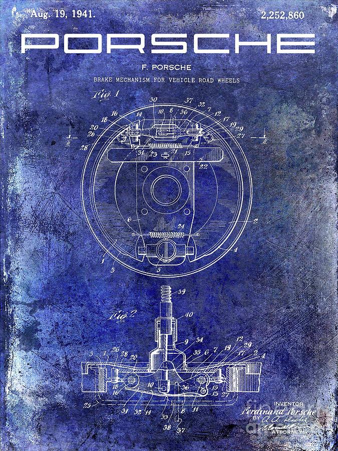 Porsche Patent Photograph - 1941 Porsche Brake Mechanism Patent Blue  by Jon Neidert