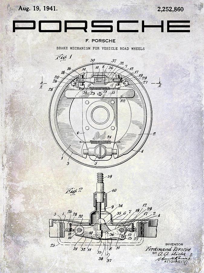Porsche Patent Photograph - 1941 Porsche Brake Mechanism Patent by Jon Neidert
