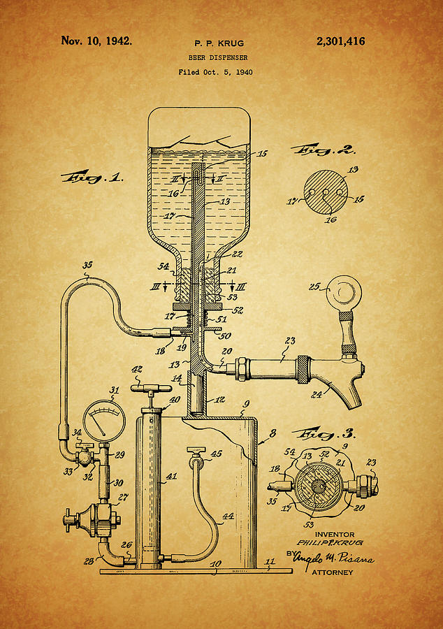 1942 Beer Dispenser Patent Drawing