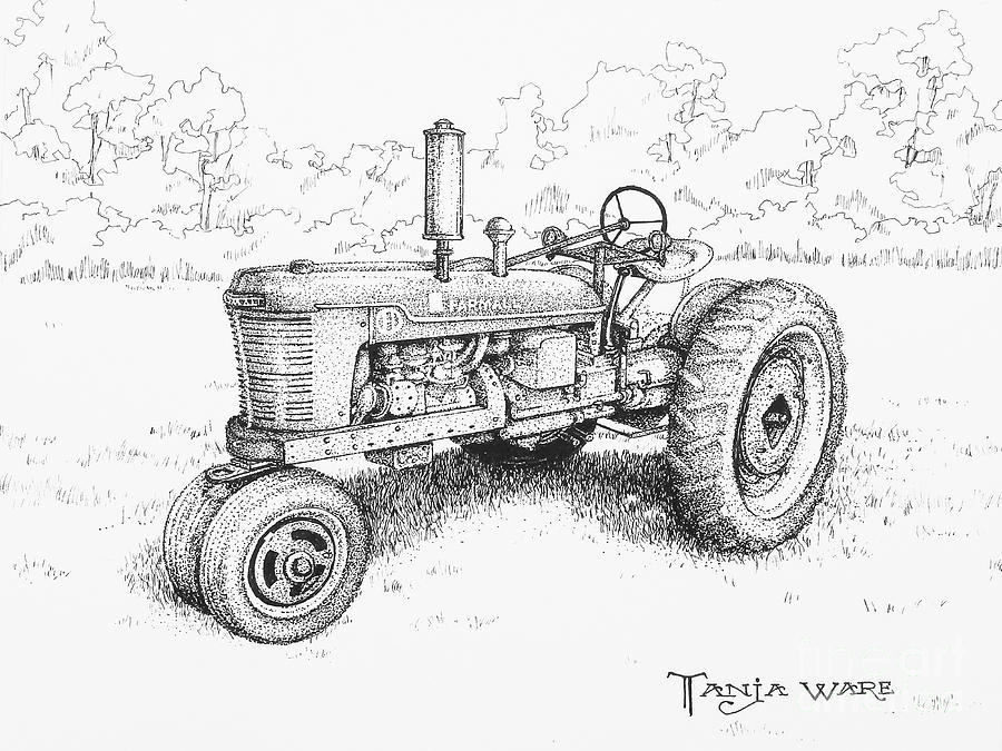 Vintage Tractor Drawing - 1942 Farmall by Tanja Ware