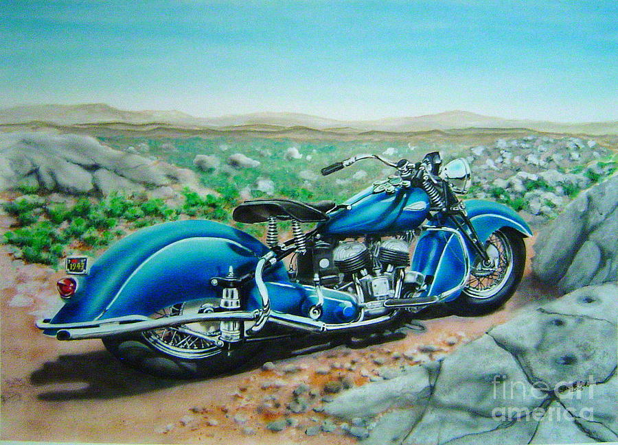 1943 indian motorcycle painting by steve aho for How much to paint a motorcycle