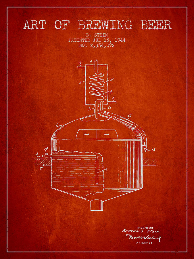 Beer Digital Art - 1944 Art Of Brewing Beer Patent - Red by Aged Pixel