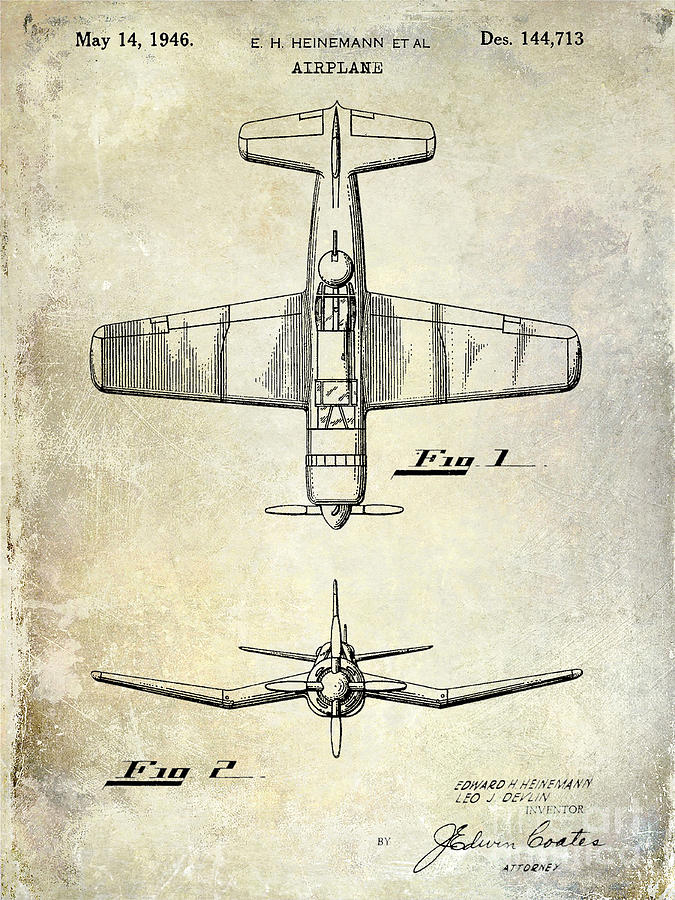 Patent Photograph - 1946 Airplane Patent by Jon Neidert