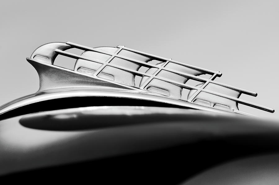 Black And White Photograph - 1946 Plymouth Hood Ornament 2 by Jill Reger