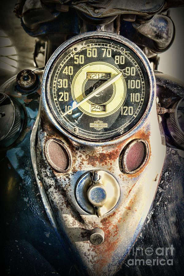 Paul Ward Photograph - 1947 Knucklehead Speedometer by Paul Ward
