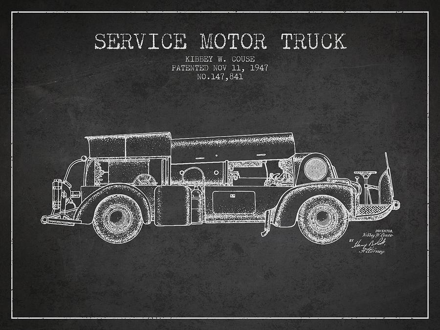 1947 Service Motor Truck Patent - Charcoal Digital Art