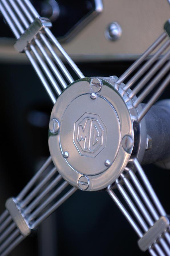 Car Photograph - 1948 Mg Tc Steering Wheel 2 by Jill Reger