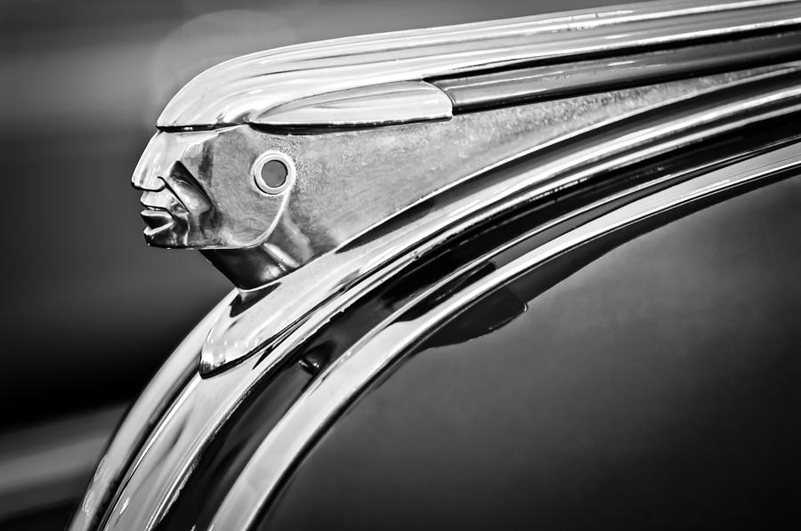Black And White Photograph - 1948 Pontiac Chief Hood Ornament 2 by Jill Reger