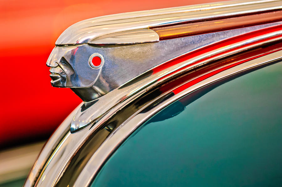 1948 Pontiac Hood Ornament Photograph - 1948 Pontiac Chief Hood Ornament by Jill Reger