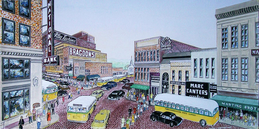 1948 Rush Hour Portsmouth Ohio Painting by Frank Hunter