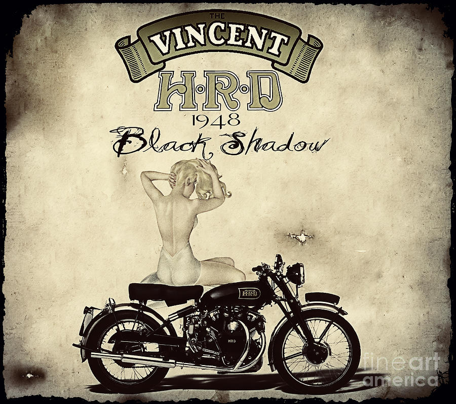 Motorcycle Digital Art - 1948 Vincent Black Shadow by Cinema Photography