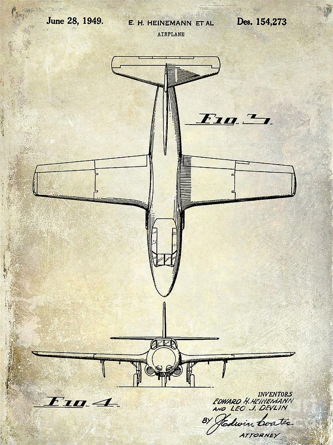 Patent Photograph - 1949 Airplane Patent Drawing by Jon Neidert