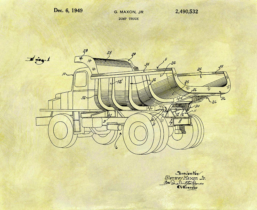 Dump Truck Mixed Media - 1949 Dump Truck Patent Design by Dan Sproul