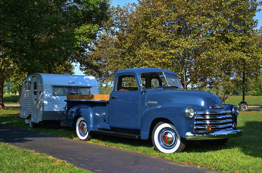 1950 Chevrolet Pickup Truck with Camper Trailer by Tim McCullough