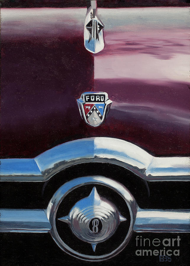 50s Painting - 1950 Ford Crestline by Elaine Brady Smith Art by Elaine Brady Smith
