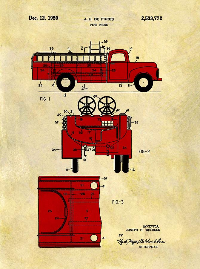 Red Fire Truck Drawing - 1950 Red Firetruck Patent by Dan Sproul