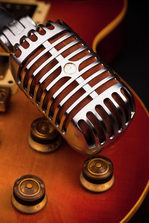 Vertical Photograph - 1950s Classic Guitar And Microphone by Hal Bergman