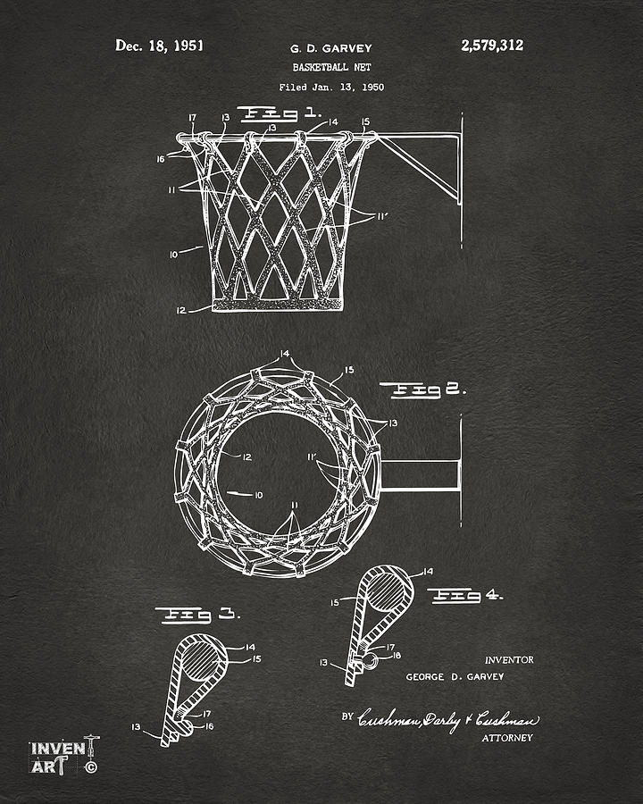 Basketball Drawing - 1951 Basketball Net Patent Artwork - Gray by Nikki Marie Smith