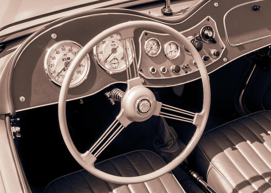 1951 Mg Td Midget Dashboard And Steering Wheel Photograph by Jim Hughes