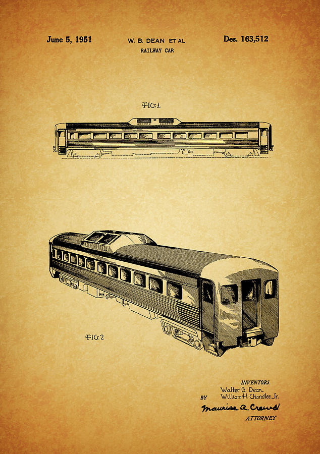 Hopper Car Mixed Media - 1951 Railway Car Patent by Dan Sproul