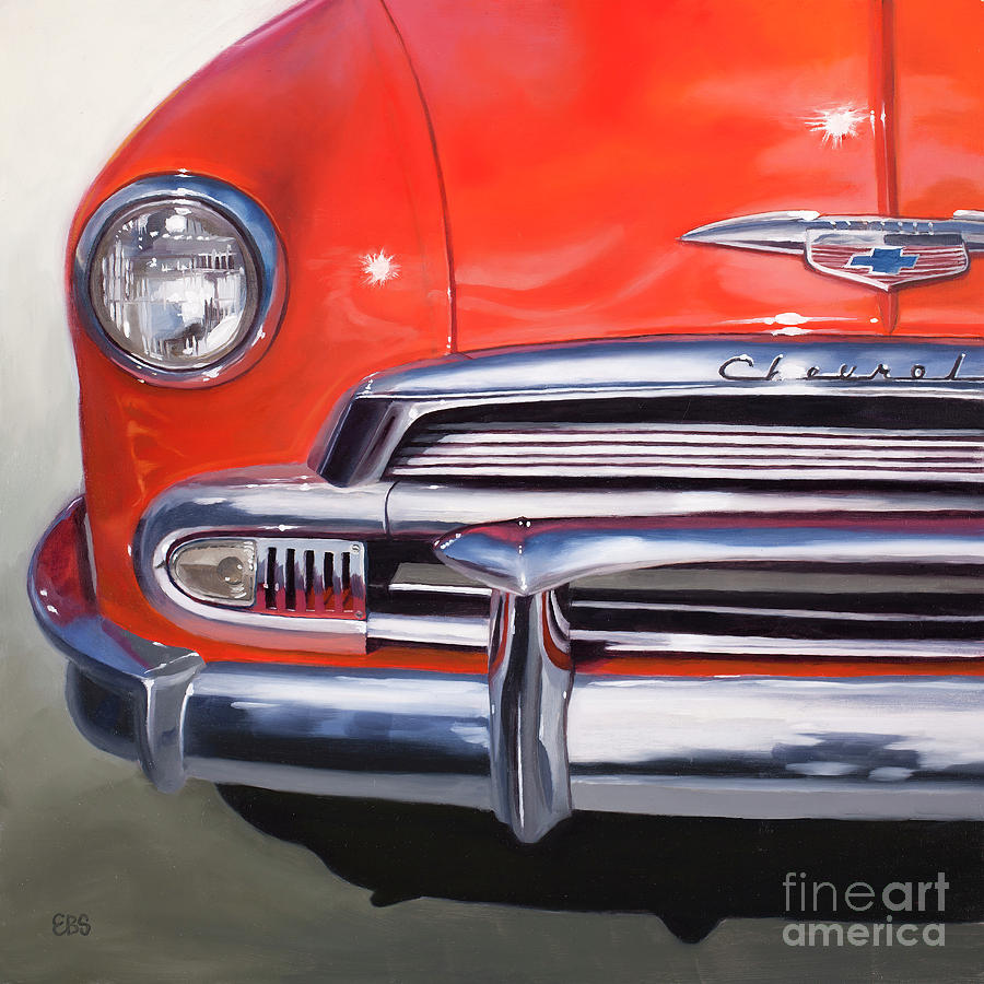 50s Painting - 1951 Red Chevy by Elaine Brady Smith