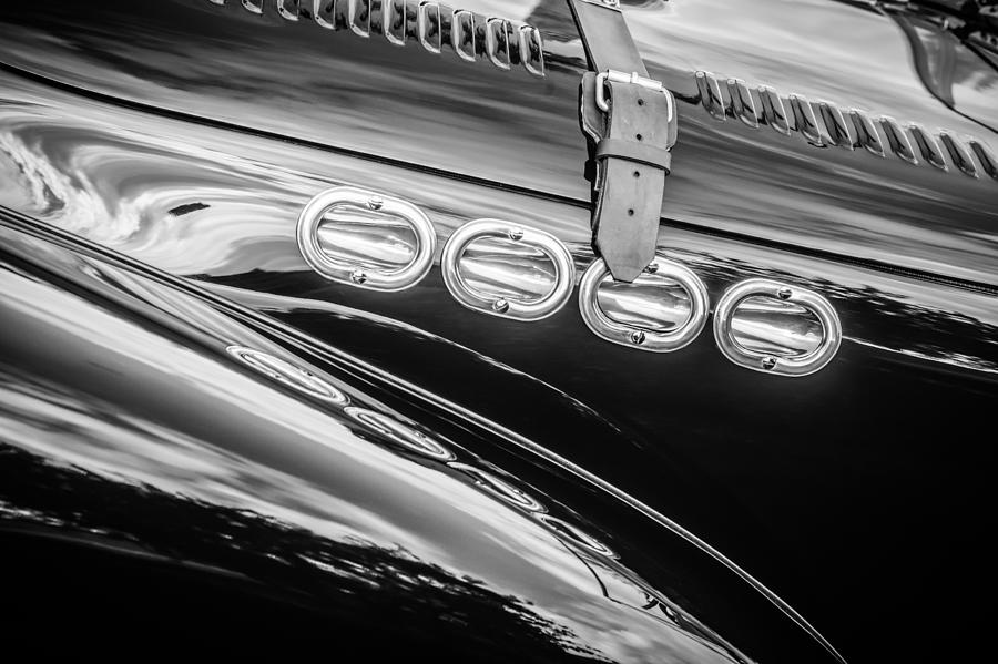 Bw Photograph - 1952 Allard K2 Hood -0600bw by Jill Reger