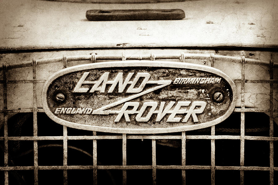 Sepia Tone Photograph - 1952 Land Rover 80 Grille  Emblem -0988s2 by Jill Reger