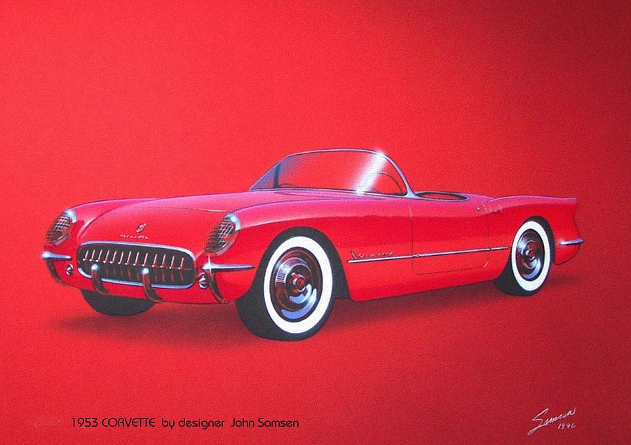 1953 Painting - 1953 Corvette Classic Vintage Sports Car Automotive Art by John Samsen