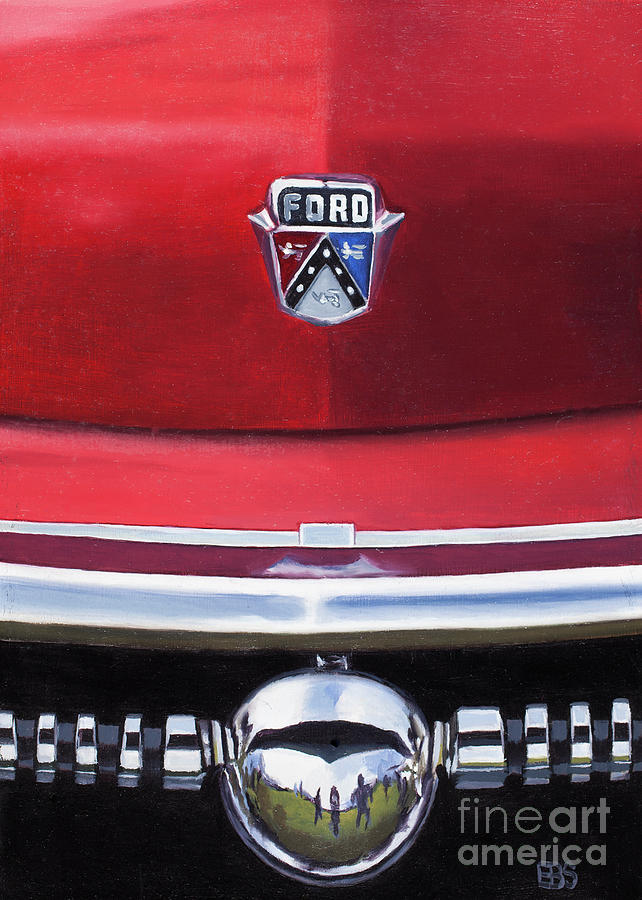 50s Painting - 1953 Ford Crestline by Elaine Brady Smith Art by Elaine Brady Smith