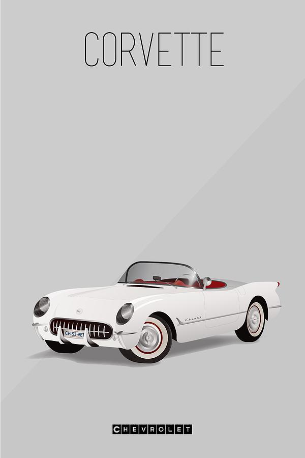 1953 Vintage Corvette Iconic Poster by Beautify My Walls